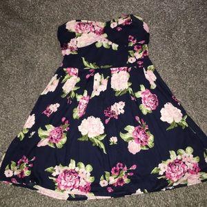 Strapless Navy Blue/Floral Dress